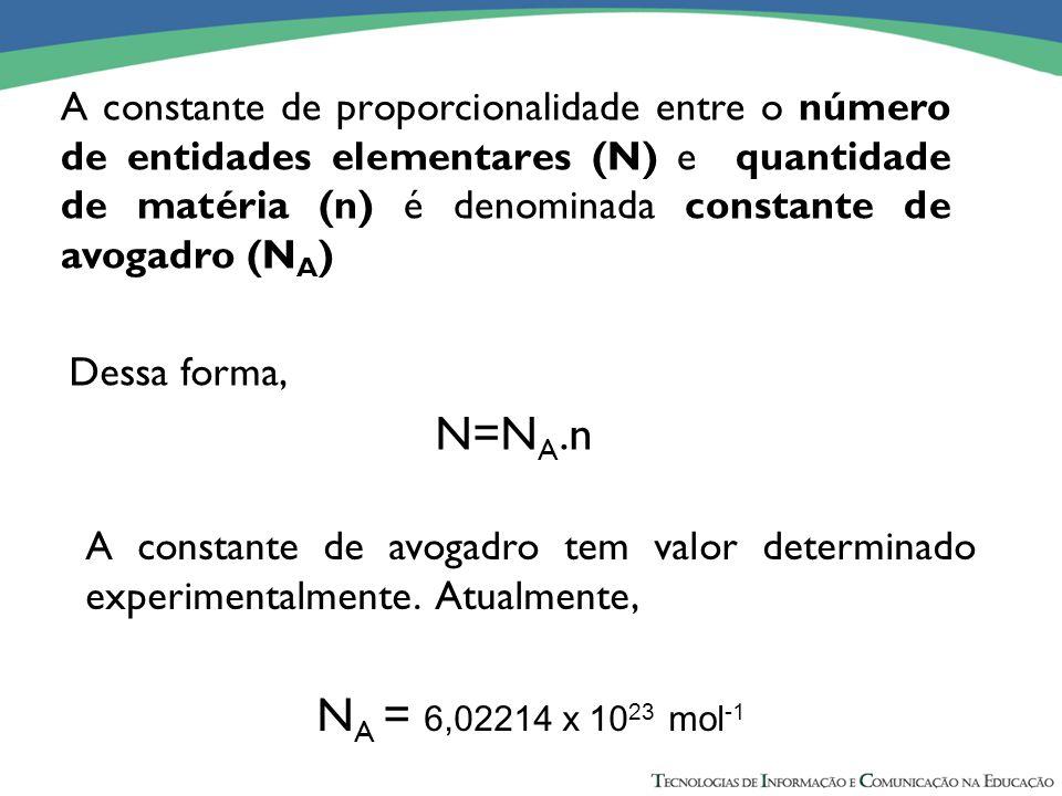 A constante de proporcionalidade entre o número de entidades elementares (N) e quantidade de matéria (n) é denominada constante de avogadro (N A ) Des