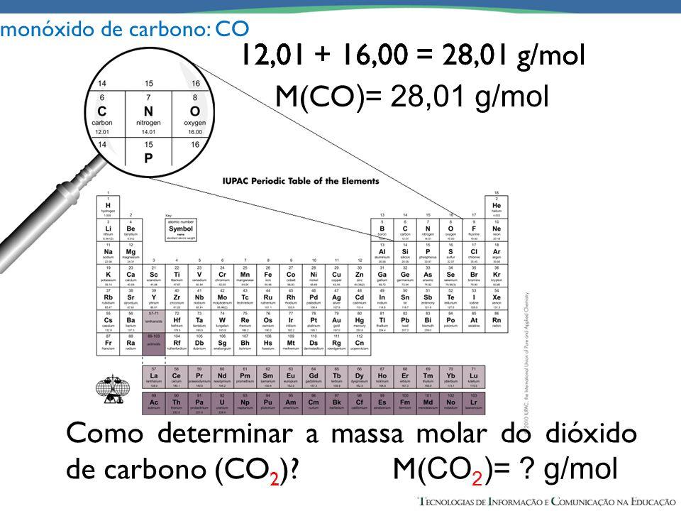 12,01 + 16,00 = 28,01 g/mol M(CO )= 28,01 g/mol 12,01 + 16,00 = 28,01 g/mol M(CO )= 28,01 g/mol 12,01 + 16,00 = 28,01 g/mol M(CO )= 28,01 g/mol 12,01