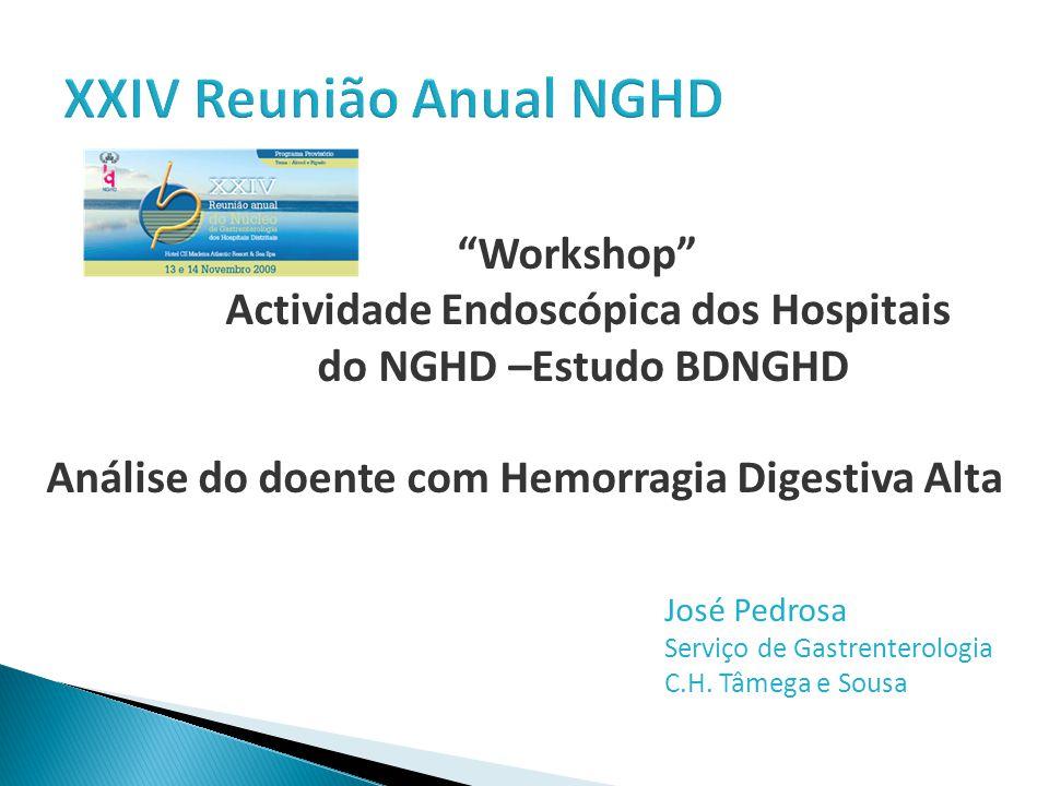 Workshop Actividade Endoscópica dos Hospitais do NGHD –Estudo BDNGHD Análise do doente com Hemorragia Digestiva Alta José Pedrosa Serviço de Gastrenterologia C.H.