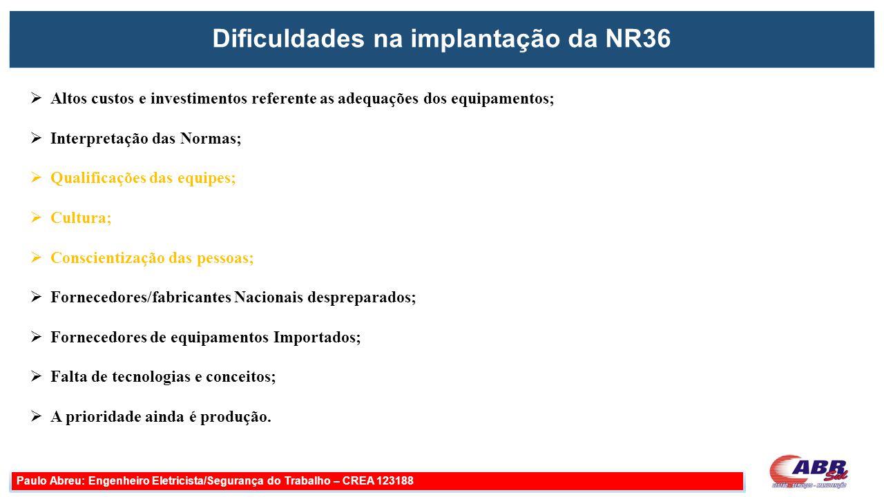 Dificuldades na implantação da NR36 Paulo Abreu: Engenheiro Eletricista/Segurança do Trabalho – CREA 123188  Altos custos e investimentos referente a