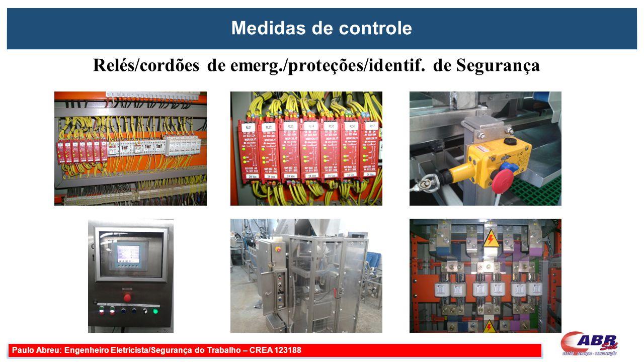 Medidas de controle Paulo Abreu: Engenheiro Eletricista/Segurança do Trabalho – CREA 123188 Relés/cordões de emerg./proteções/identif. de Segurança