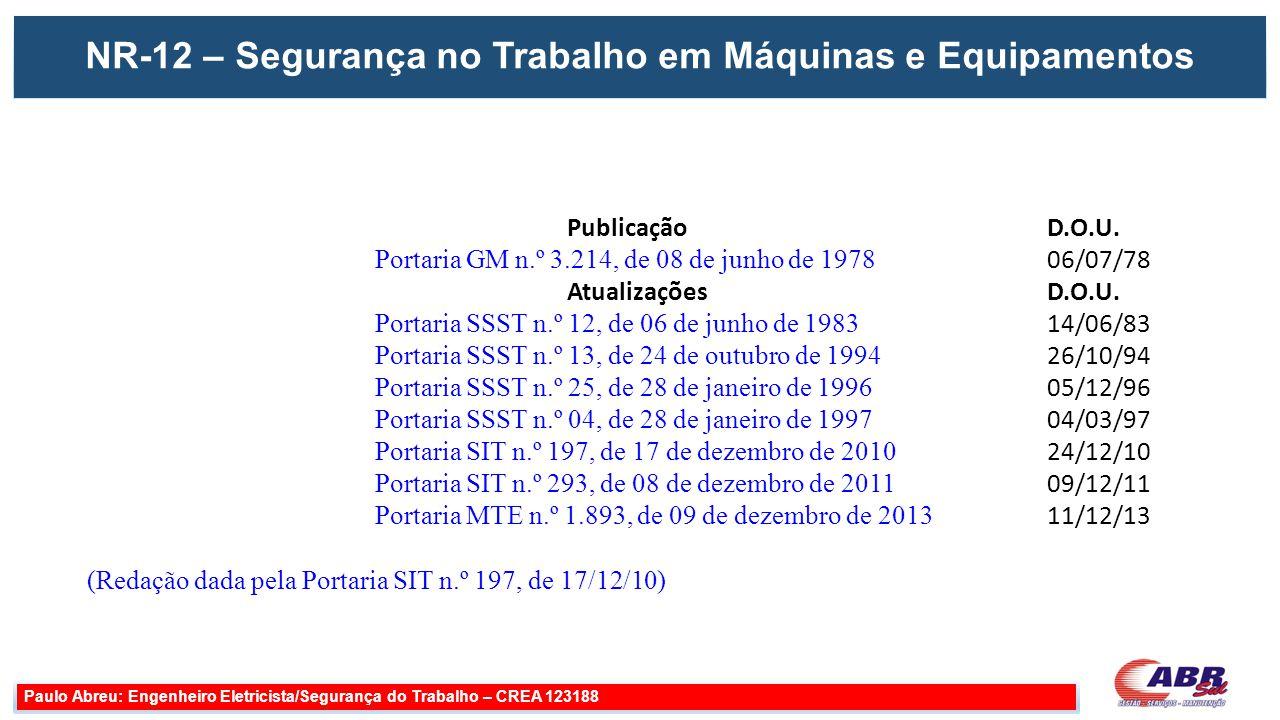 NR-12 – Segurança no Trabalho em Máquinas e Equipamentos Paulo Abreu: Engenheiro Eletricista/Segurança do Trabalho – CREA 123188 Publicação D.O.U. Por