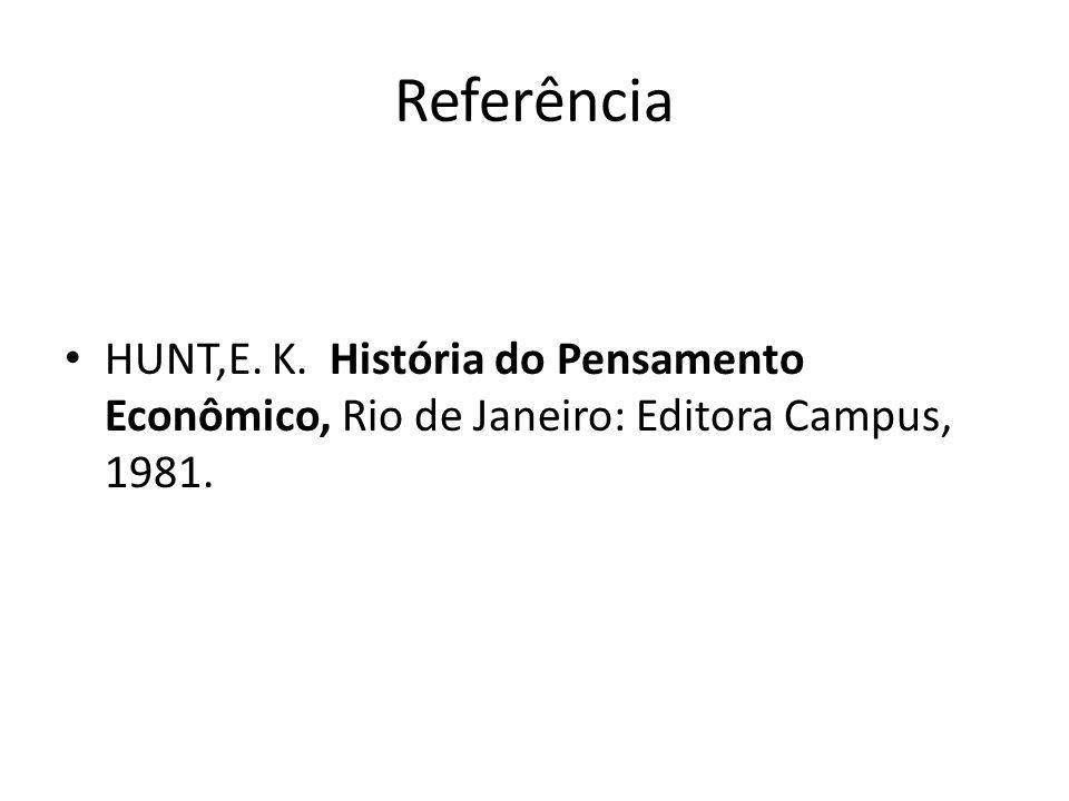 Referência HUNT,E. K. História do Pensamento Econômico, Rio de Janeiro: Editora Campus, 1981.