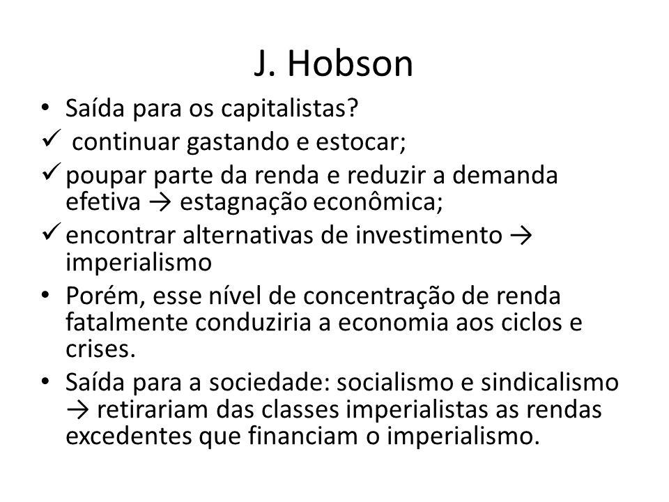 J. Hobson Saída para os capitalistas? continuar gastando e estocar; poupar parte da renda e reduzir a demanda efetiva → estagnação econômica; encontra