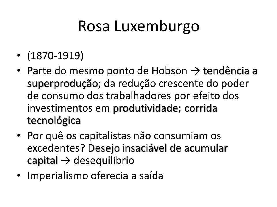 Rosa Luxemburgo (1870-1919) tendência a superprodução produtividadecorrida tecnológica Parte do mesmo ponto de Hobson → tendência a superprodução; da