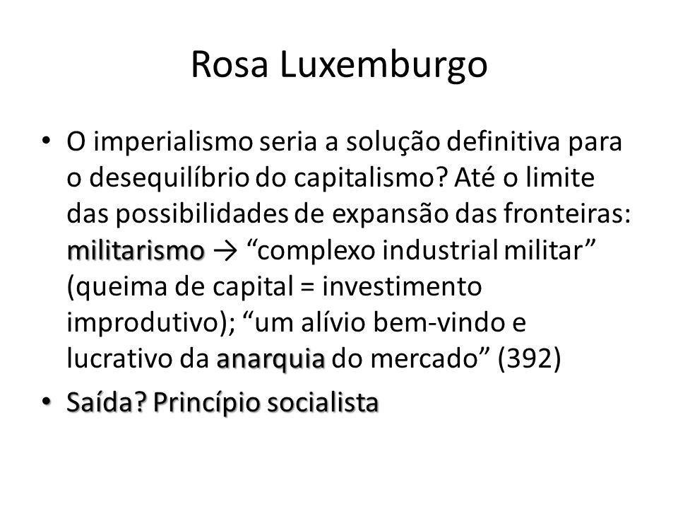 Rosa Luxemburgo militarismo anarquia O imperialismo seria a solução definitiva para o desequilíbrio do capitalismo? Até o limite das possibilidades de
