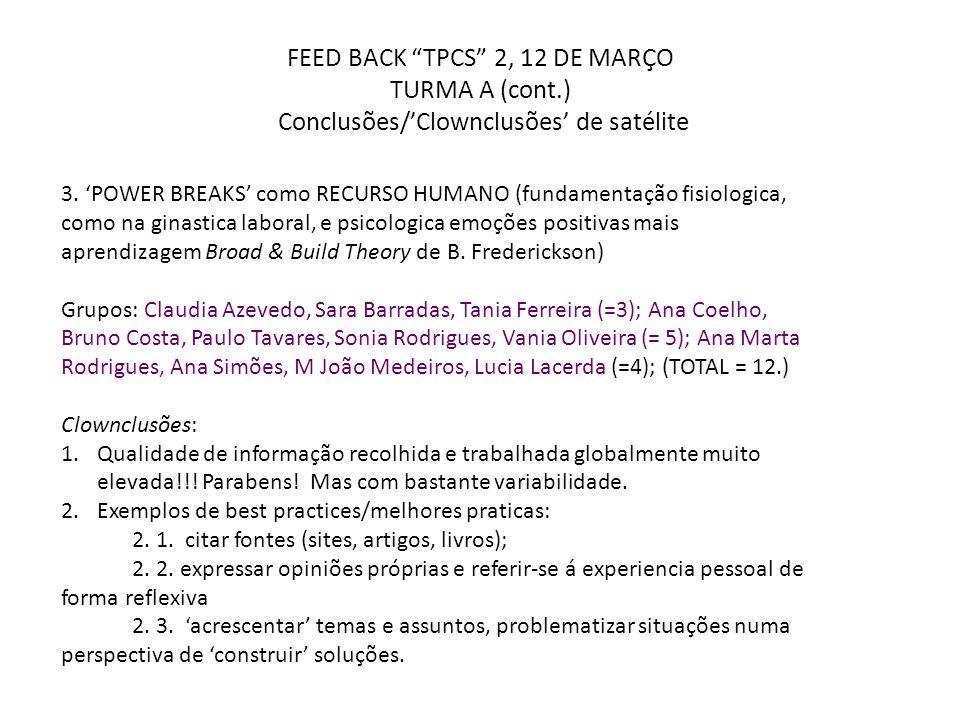 """FEED BACK """"TPCS"""" 2, 12 DE MARÇO TURMA A (cont.) Conclusões/'Clownclusões' de satélite 3. 'POWER BREAKS' como RECURSO HUMANO (fundamentação fisiologica"""