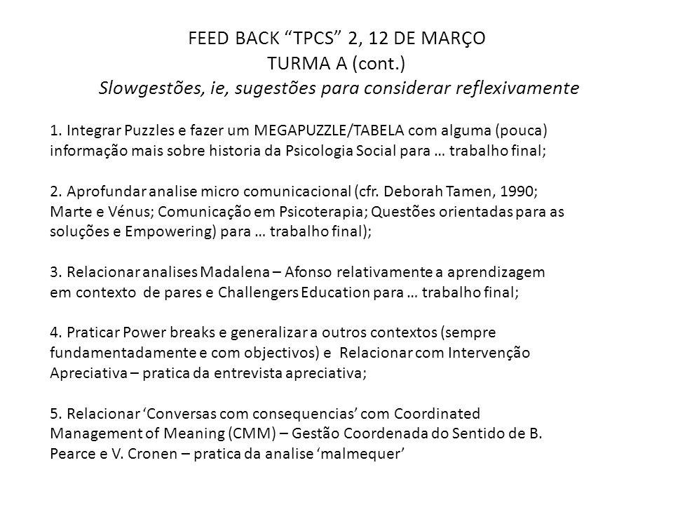 """FEED BACK """"TPCS"""" 2, 12 DE MARÇO TURMA A (cont.) Slowgestões, ie, sugestões para considerar reflexivamente 1. Integrar Puzzles e fazer um MEGAPUZZLE/TA"""
