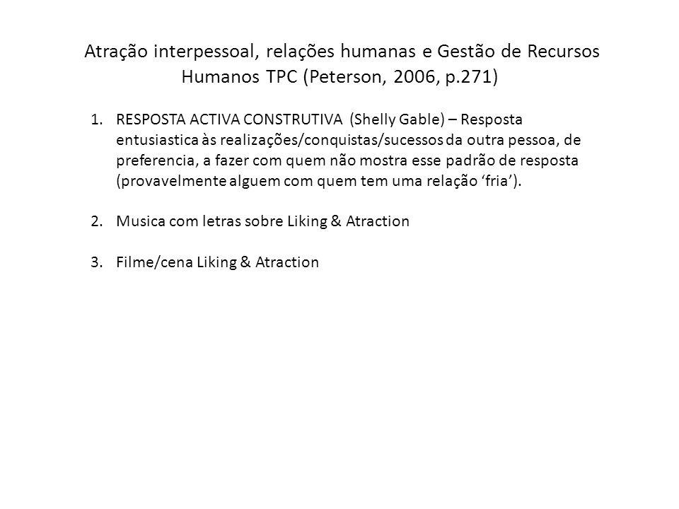 Atração interpessoal, relações humanas e Gestão de Recursos Humanos TPC (Peterson, 2006, p.271) 1.RESPOSTA ACTIVA CONSTRUTIVA (Shelly Gable) – Respost