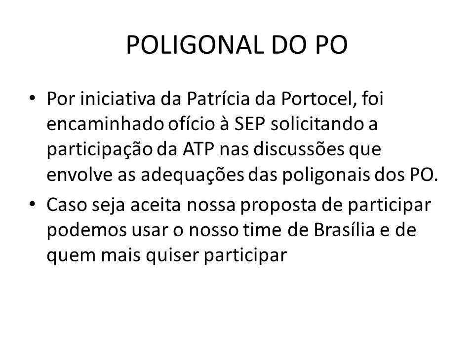 POLIGONAL DO PO Por iniciativa da Patrícia da Portocel, foi encaminhado ofício à SEP solicitando a participação da ATP nas discussões que envolve as adequações das poligonais dos PO.