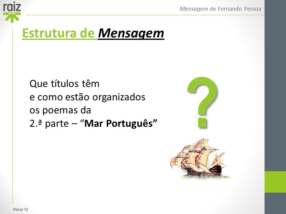 """Plural 12 Mensagem de Fernando Pessoa Estrutura de Mensagem Que títulos têm e como estão organizados os poemas da 2.ª parte – """"Mar Português"""" ?"""