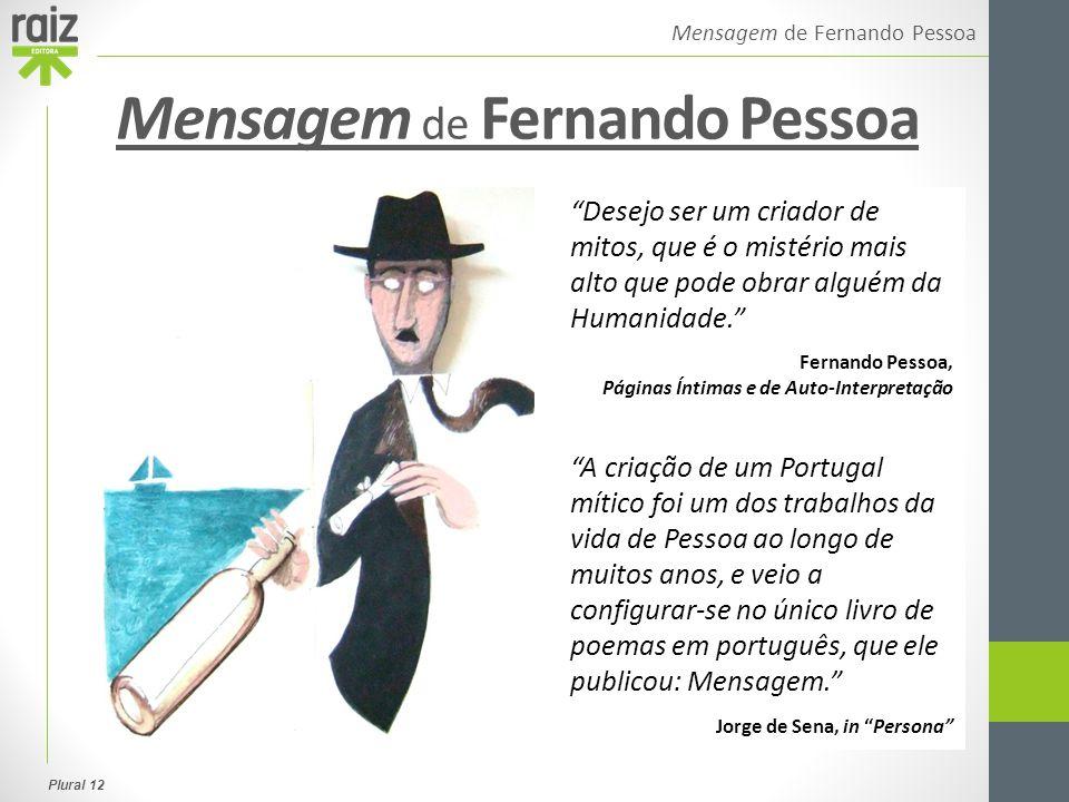 """Plural 12 Mensagem de Fernando Pessoa """"Desejo ser um criador de mitos, que é o mistério mais alto que pode obrar alguém da Humanidade."""" Fernando Pesso"""