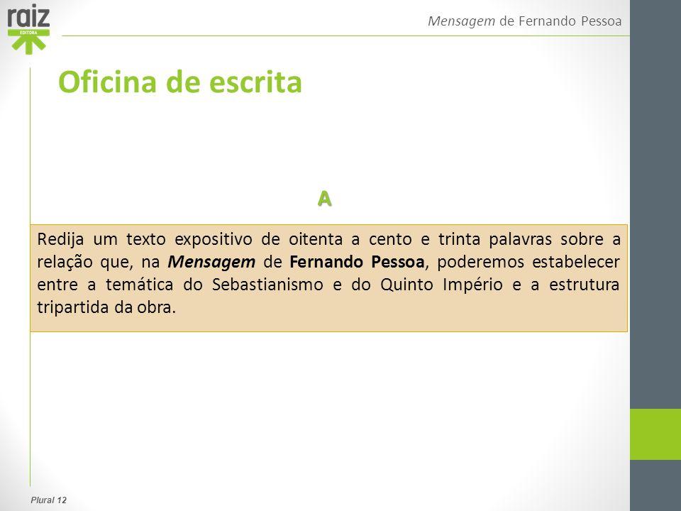 Plural 12 Mensagem de Fernando Pessoa Oficina de escrita Redija um texto expositivo de oitenta a cento e trinta palavras sobre a relação que, na Mensa