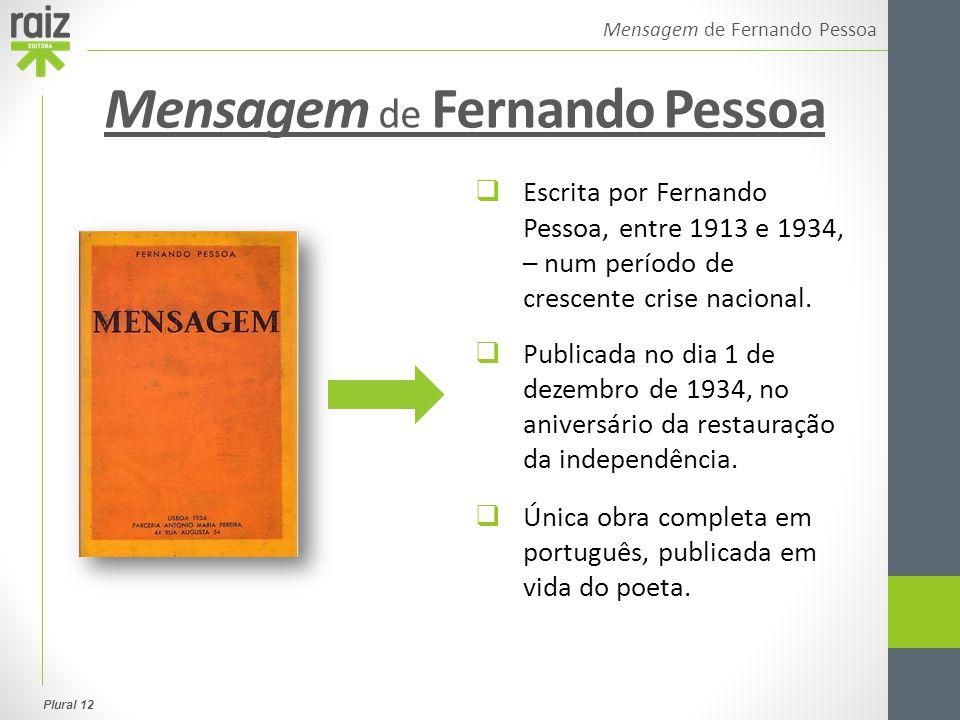 Plural 12 Mensagem de Fernando Pessoa 1.ª parte Brasão 2.ª parte Mar Português 3.ª parte O Encoberto Estrutura de Mensagem Obra composta por 44 poemas, apresentados numa estrutura tripartida.