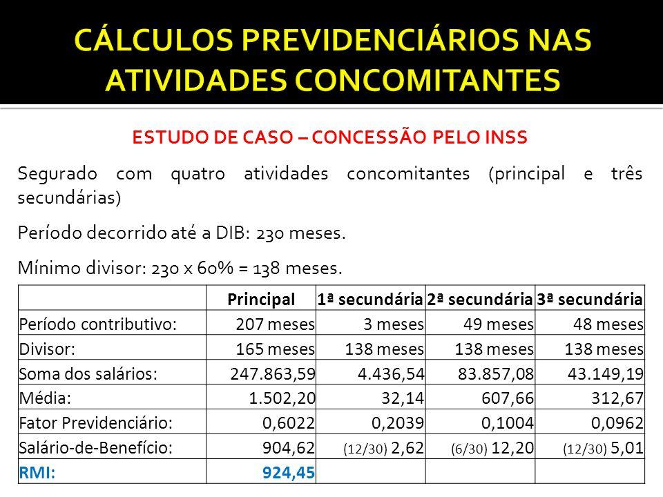 ESTUDO DE CASO – CONCESSÃO PELO INSS Segurado com quatro atividades concomitantes (principal e três secundárias) Período decorrido até a DIB: 230 mese
