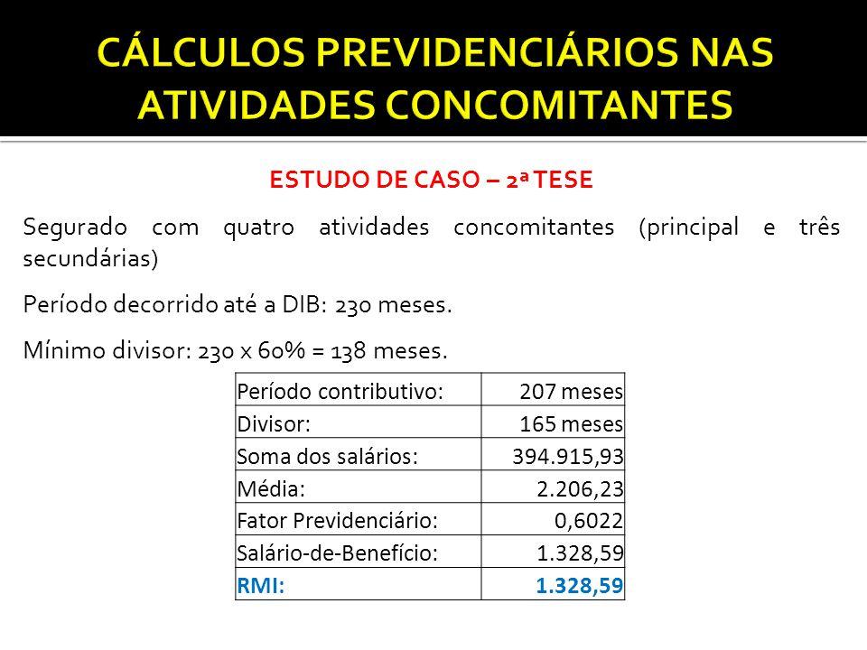 ESTUDO DE CASO – 2ª TESE Segurado com quatro atividades concomitantes (principal e três secundárias) Período decorrido até a DIB: 230 meses. Mínimo di