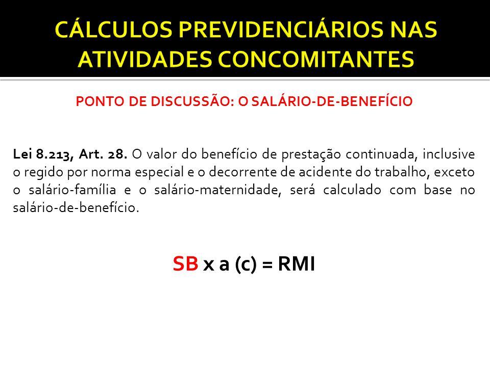 PONTO DE DISCUSSÃO: O SALÁRIO-DE-BENEFÍCIO Lei 8.213, Art. 28. O valor do benefício de prestação continuada, inclusive o regido por norma especial e o