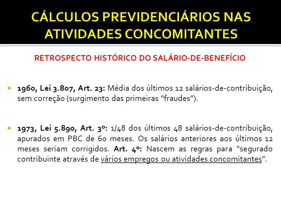 RETROSPECTO HISTÓRICO DO SALÁRIO-DE-BENEFÍCIO  1960, Lei 3.807, Art. 23: Média dos últimos 12 salários-de-contribuição, sem correção (surgimento das