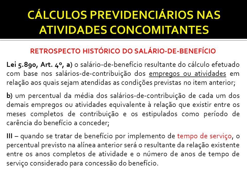 RETROSPECTO HISTÓRICO DO SALÁRIO-DE-BENEFÍCIO Lei 5.890, Art. 4º, a) o salário-de-benefício resultante do cálculo efetuado com base nos salários-de-co