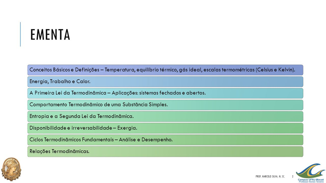 EMENTA PROF. MARCELO SILVA, M. SC.2 Conceitos Básicos e Definições – Temperatura, equilíbrio térmico, gás ideal, escalas termométricas (Celsius e Kelv