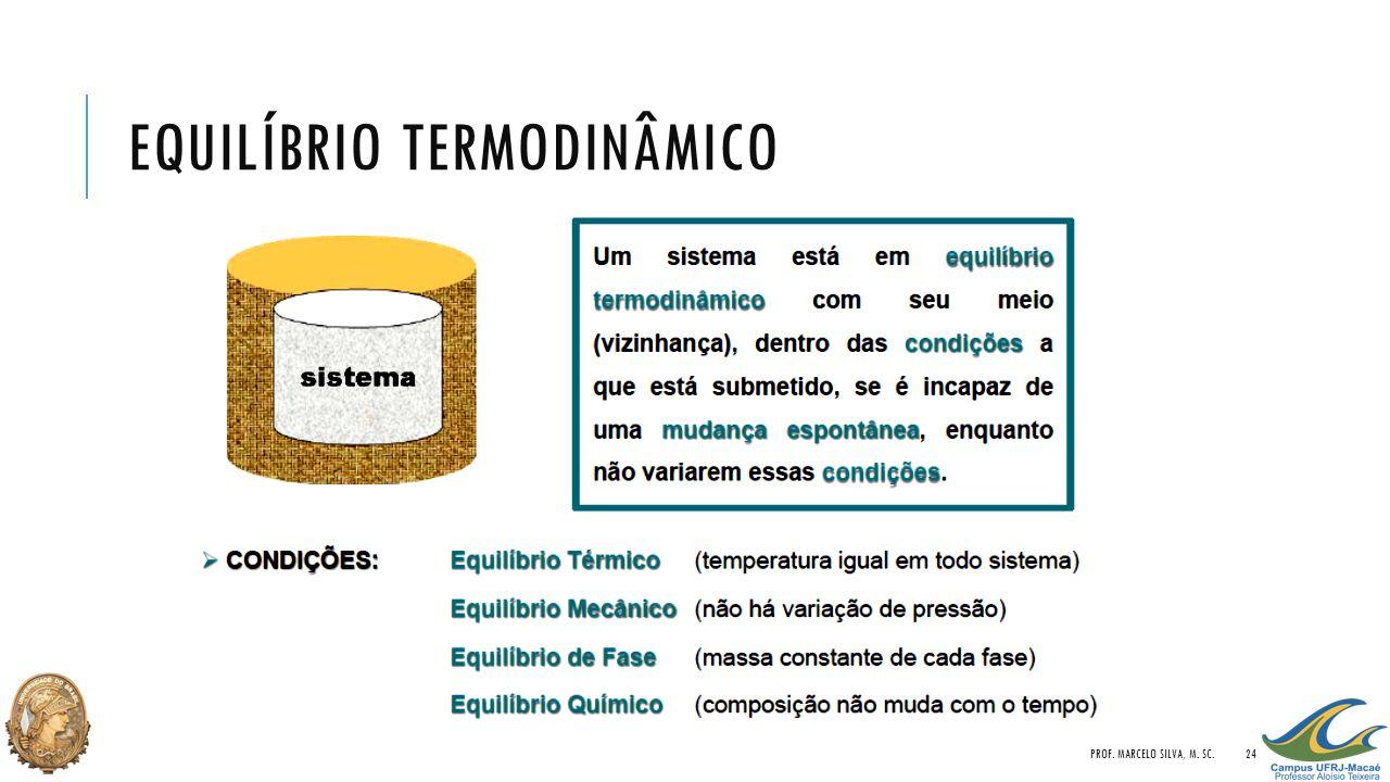 EQUILÍBRIO TERMODINÂMICO PROF. MARCELO SILVA, M. SC.24