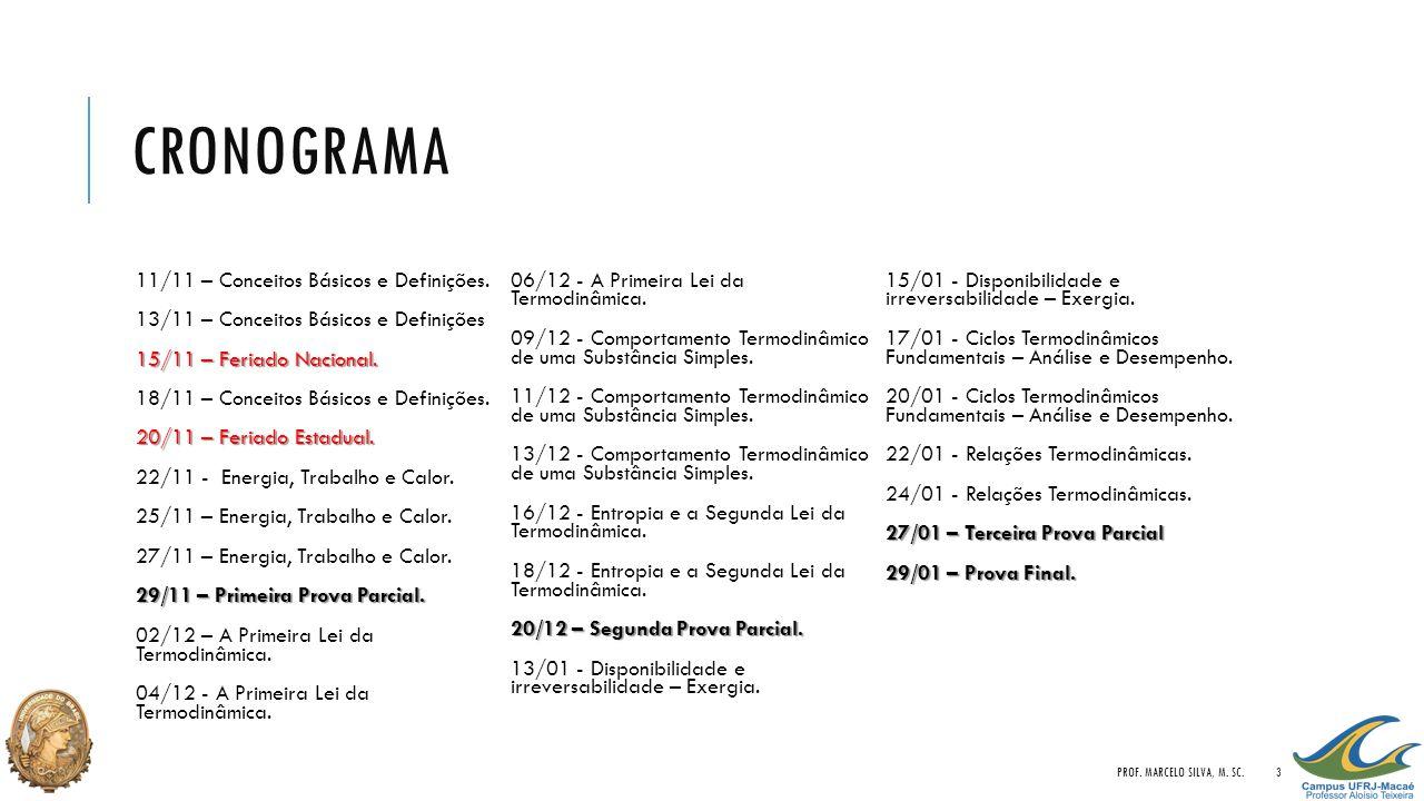 CRONOGRAMA 11/11 – Conceitos Básicos e Definições. 13/11 – Conceitos Básicos e Definições 15/11 – Feriado Nacional. 15/11 – Feriado Nacional. 18/11 –