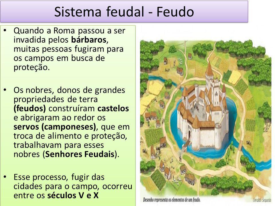 Sistema feudal - Feudo Quando a Roma passou a ser invadida pelos bárbaros, muitas pessoas fugiram para os campos em busca de proteção. Os nobres, dono