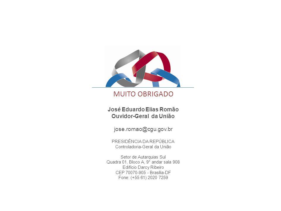 José Eduardo Elias Romão Ouvidor-Geral da União jose.romao@cgu.gov.br PRESIDÊNCIA DA REPÚBLICA Controladoria-Geral da União Setor de Autarquias Sul Qu