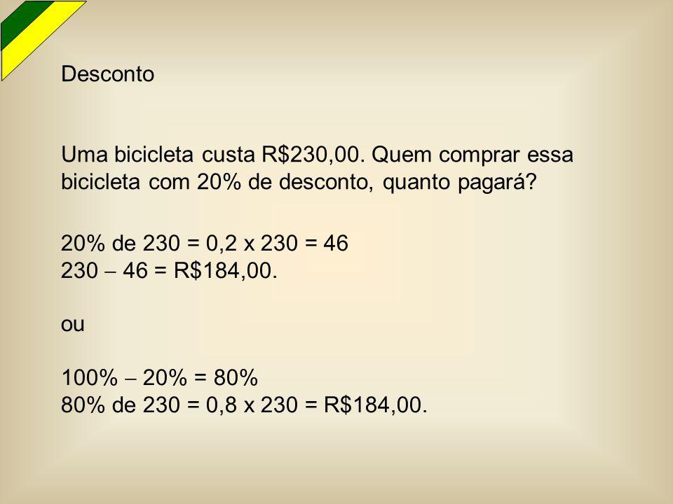 Desconto Uma bicicleta custa R$230,00. Quem comprar essa bicicleta com 20% de desconto, quanto pagará? 20% de 230 = 0,2 x 230 = 46 230  46 = R$184,00