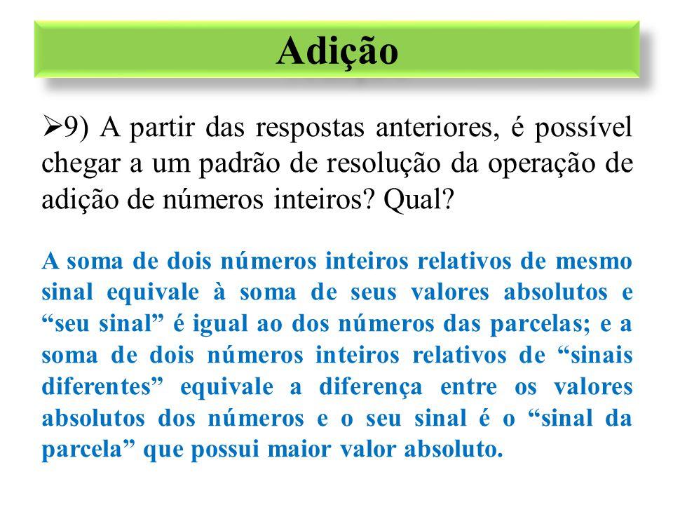  9) A partir das respostas anteriores, é possível chegar a um padrão de resolução da operação de adição de números inteiros? Qual? A soma de dois núm