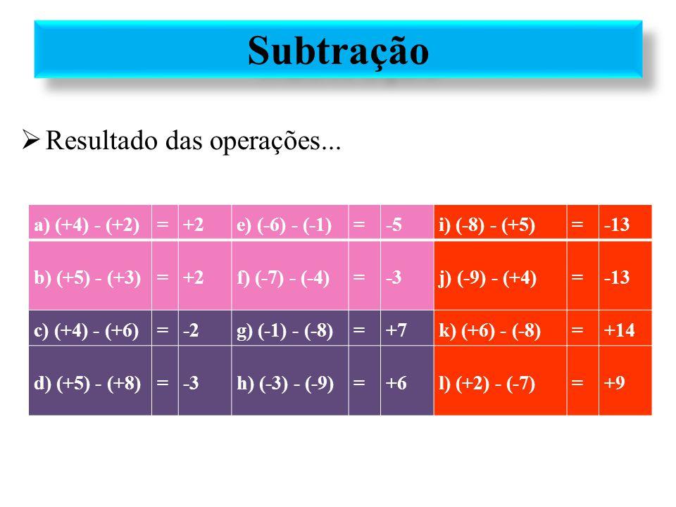 a) (+4) - (+2)=+2e) (-6) - (-1)=-5i) (-8) - (+5)=-13 b) (+5) - (+3)=+2f) (-7) - (-4)=-3j) (-9) - (+4)=-13 c) (+4) - (+6)=-2g) (-1) - (-8)=+7k) (+6) -