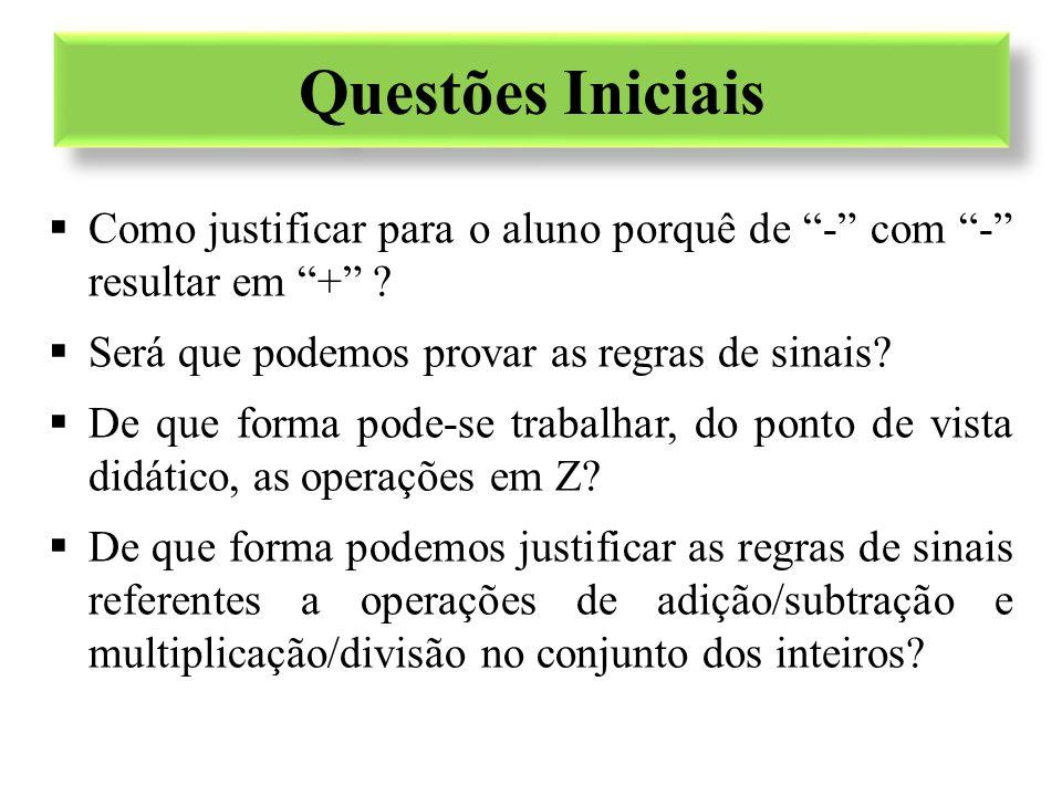 """Questões Iniciais  Como justificar para o aluno porquê de """"-"""" com """"-"""" resultar em """"+"""" ?  Será que podemos provar as regras de sinais?  De que forma"""