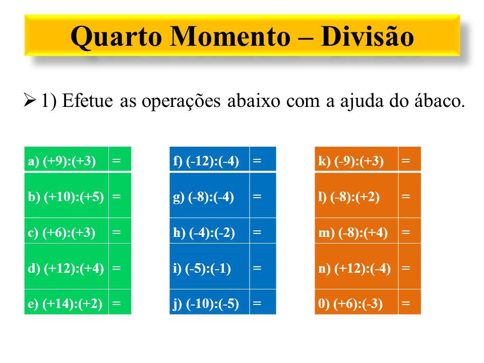 Quarto Momento – Divisão a) (+9):(+3)=+3f) (-12):(-4)=+3k) (-9):(+3)=-3 b) (+10):(+5)=+2g) (-8):(-4)=+2l) (-8):(+2)=-4 c) (+6):(+3)=+2h) (-4):(-2)=+2m