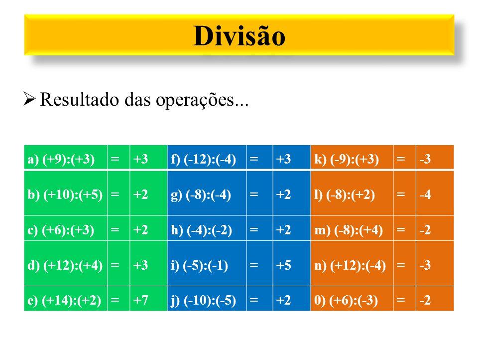 Divisão a) (+9):(+3)=+3f) (-12):(-4)=+3k) (-9):(+3)=-3 b) (+10):(+5)=+2g) (-8):(-4)=+2l) (-8):(+2)=-4 c) (+6):(+3)=+2h) (-4):(-2)=+2m) (-8):(+4)=-2 d)