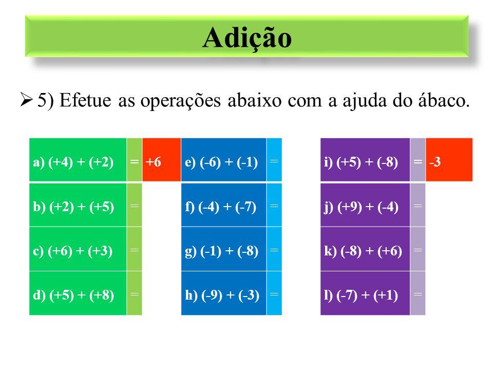 a) (+4) + (+2)=+6e) (-6) + (-1)=-7i) (+5) + (-8)=-3 b) (+2) + (+5)=+7f) (-4) + (-7)=-11j) (+9) + (-4)=+5 c) (+6) + (+3)=+9g) (-1) + (-8)=-9k) (-8) + (+6)=-2 d) (+5) + (+8)=+13h) (-9) + (-3)=-12l) (-7) + (+1)=-6 Adição  Resultado das operações...