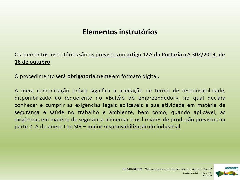 Elementos instrutórios Os elementos instrutórios são os previstos no artigo 12.º da Portaria n.º 302/2013, de 16 de outubro O procedimento será obriga