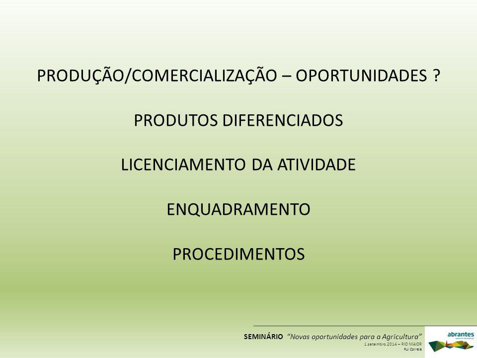 Produtos diferenciados Produção Comercialização Transformação Mesmo produto Artigo diferenciado Comercialização Novos mercados Valorização do produto SEMINÁRIO Novas oportunidades para a Agricultura 1.setembro.2014 – RIO MAIOR Rui Correia
