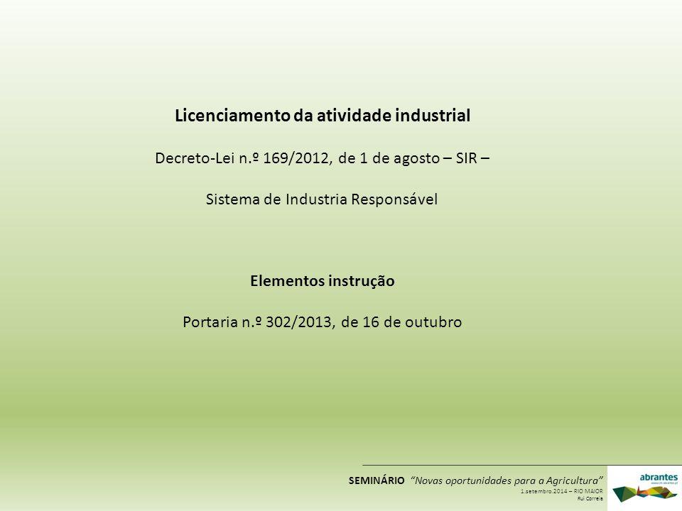Licenciamento da atividade industrial Decreto-Lei n.º 169/2012, de 1 de agosto – SIR – Sistema de Industria Responsável Elementos instrução Portaria n