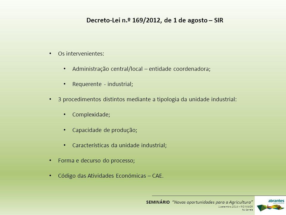 Decreto-Lei n.º 169/2012, de 1 de agosto – SIR Os intervenientes: Administração central/local – entidade coordenadora; Requerente - industrial; 3 proc