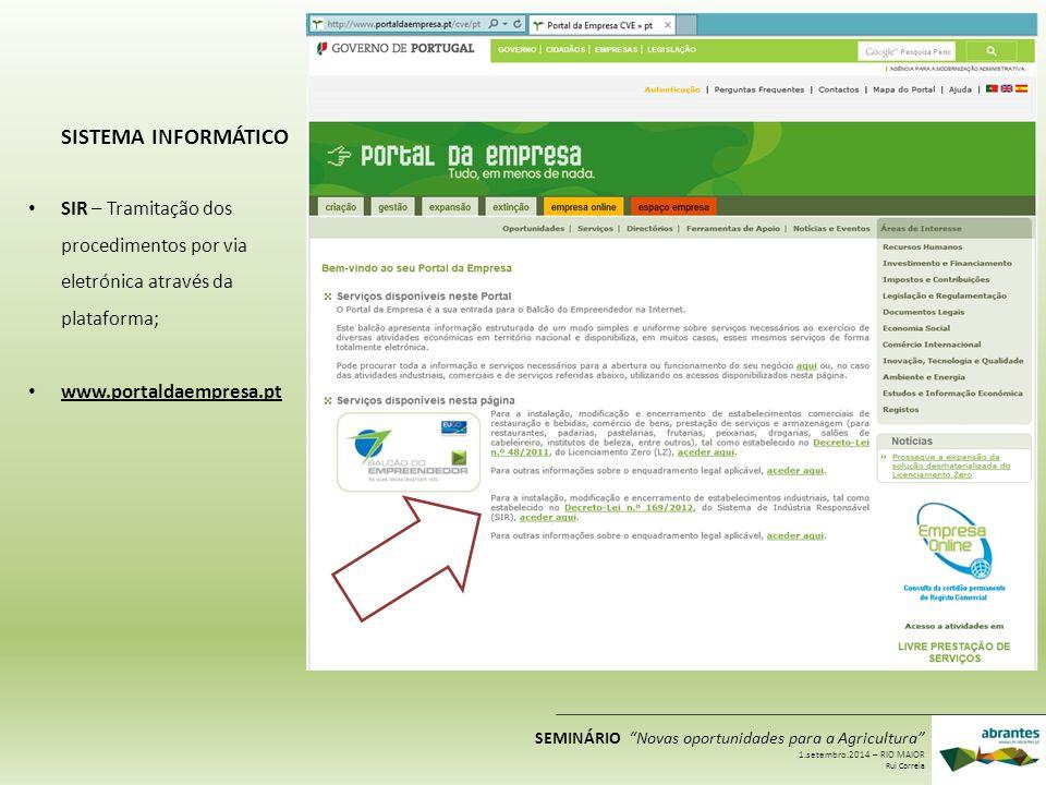 """SIR – Tramitação dos procedimentos por via eletrónica através da plataforma; www.portaldaempresa.pt SISTEMA INFORMÁTICO SEMINÁRIO """"Novas oportunidades"""