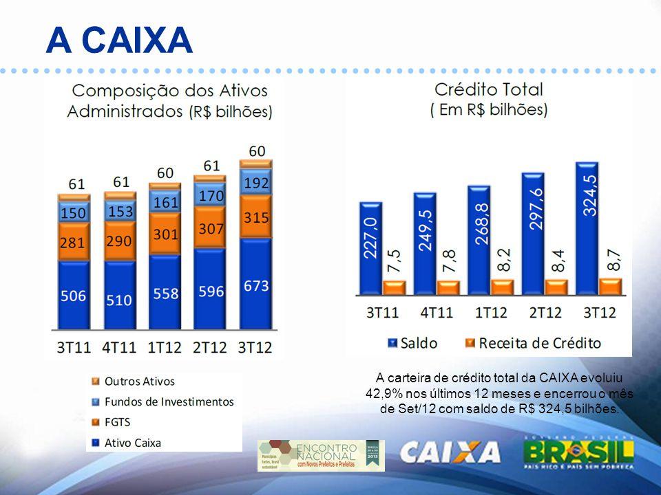 A carteira de crédito total da CAIXA evoluiu 42,9% nos últimos 12 meses e encerrou o mês de Set/12 com saldo de R$ 324,5 bilhões.