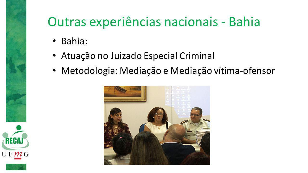 Outras experiências nacionais - Bahia Bahia: Atuação no Juizado Especial Criminal Metodologia: Mediação e Mediação vítima-ofensor