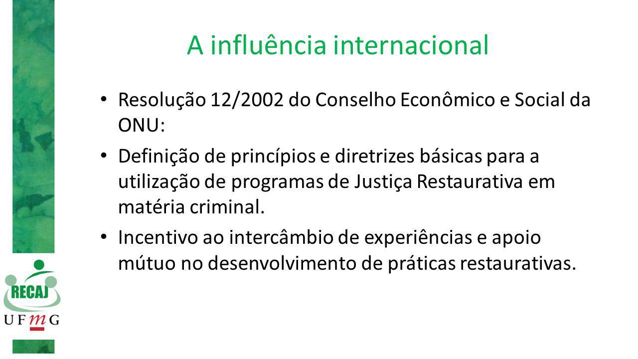 A influência internacional Resolução 12/2002 do Conselho Econômico e Social da ONU: Definição de princípios e diretrizes básicas para a utilização de programas de Justiça Restaurativa em matéria criminal.