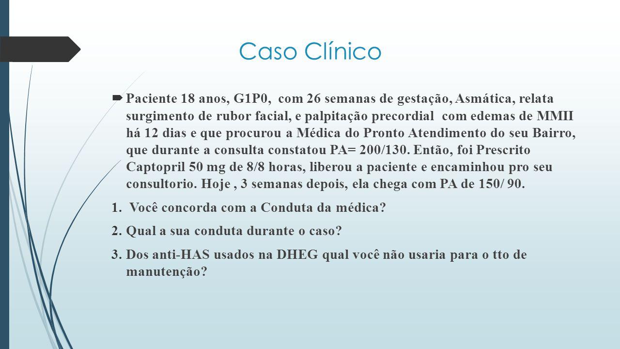  Paciente 18 anos, G1P0, com 26 semanas de gestação, Asmática, relata surgimento de rubor facial, e palpitação precordial com edemas de MMII há 12 di