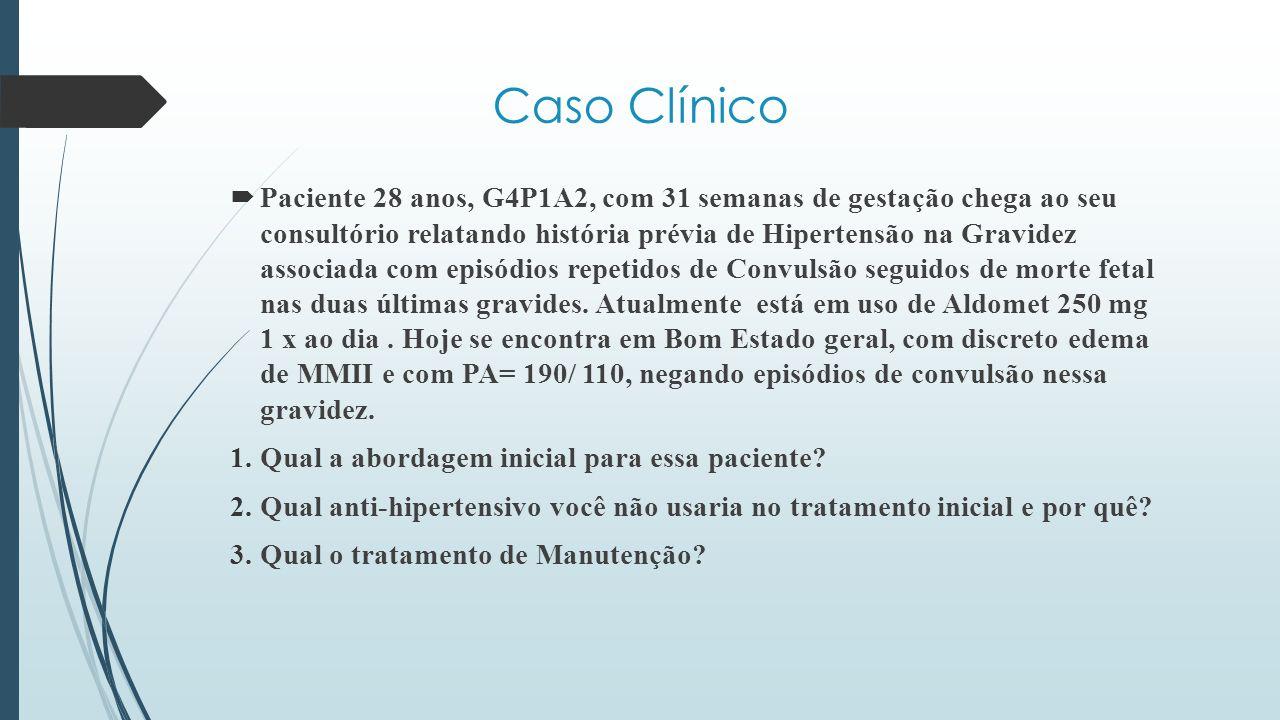  Paciente 28 anos, G4P1A2, com 31 semanas de gestação chega ao seu consultório relatando história prévia de Hipertensão na Gravidez associada com epi