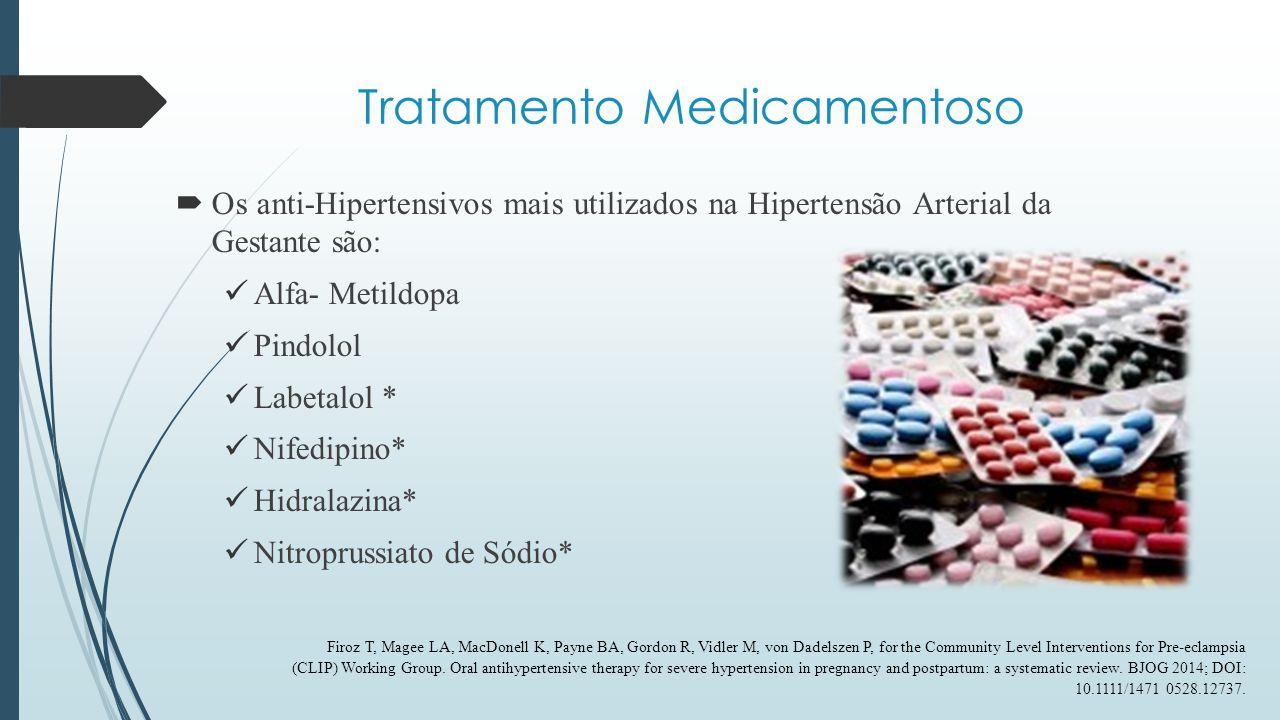 Tratamento Medicamentoso  Alfa – Metildopa: a-agonista central ; Segura e Efetiva* - Risco B pela FDA; Utilizada para tto de manutenção da DHEG; Permite adição de outros anti-HAS; Dose inicial de 750 mg/dia até 3 g/dia divididos em até 3 a 4 x – Atente-se para as sub doses; Diminui Incidência de Emergências Hipertensivas; Pode Causar Hipotensão Postural ; Contraindicadas nos casos de hepatopatias e/ ou intolerância ao uso prévio.