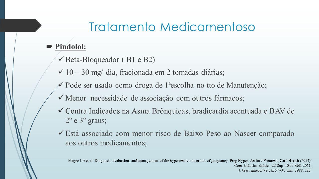 Tratamento Medicamentoso  Hidralazina VO/IV: Vasodilatador direto; VO é Medicamento de 2ª Linha p/ TTO de Manutenção; VO é Associado a Metildopa ou Betabloqueadores - devido a taquicardia reflexa; IV são considerados Medicamentos de 1ª linha para o TTO da Emergência Hipertensiva -5mg (IV) - ou 10mg (IM) -de 20/20 min ou até queda de 20% na PA - Dose Máxima de 20 mg IV ou 30 mg IM; Maior Risco de Hipotensão Materna; Maior risco de Hipertensão Persistente quando comparada a Nifedipina.