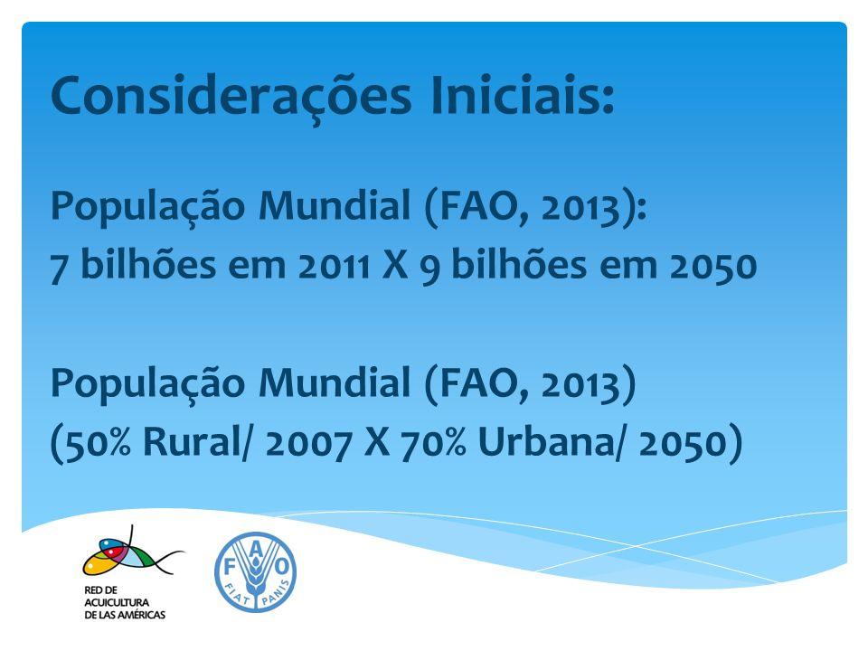 Considerações Iniciais: População Mundial (FAO, 2013): 7 bilhões em 2011 X 9 bilhões em 2050 População Mundial (FAO, 2013) (50% Rural/ 2007 X 70% Urba