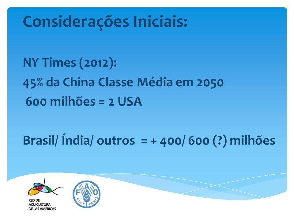 Considerações Iniciais: NY Times (2012): 45% da China Classe Média em 2050 600 milhões = 2 USA Brasil/ Índia/ outros = + 400/ 600 (?) milhões