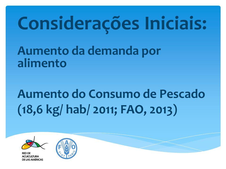 Considerações Iniciais: Aumento da demanda por alimento Aumento do Consumo de Pescado (18,6 kg/ hab/ 2011; FAO, 2013)